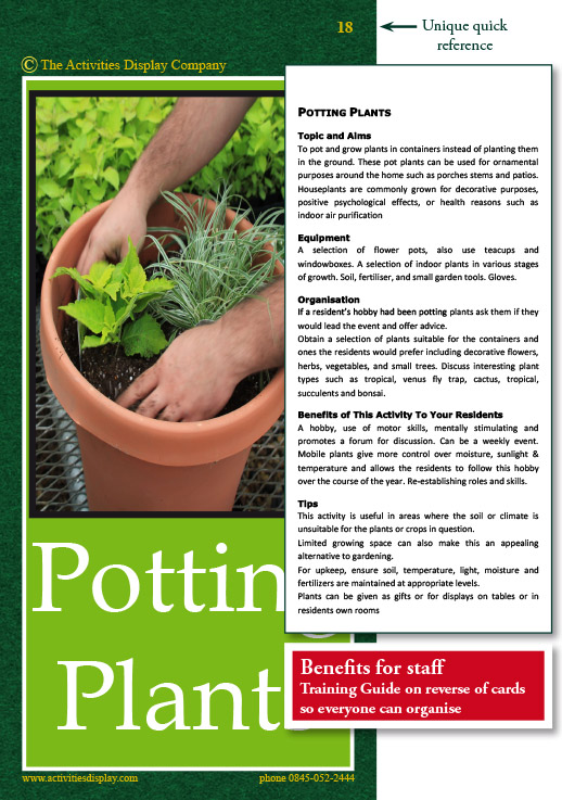 Potting Plants Activities Card